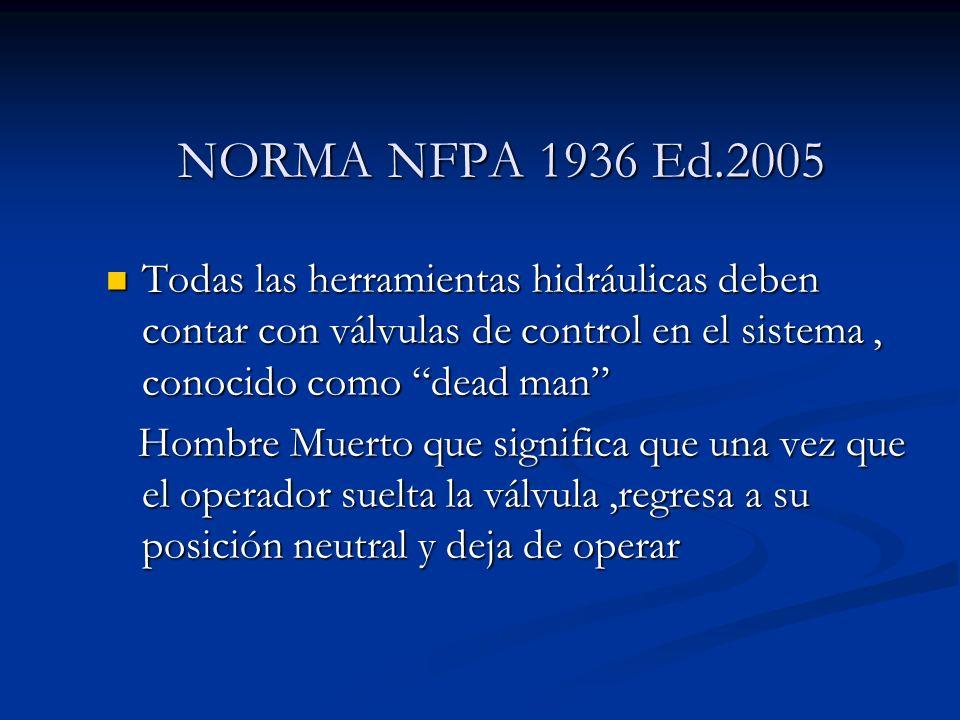 NORMA NFPA 1936 Ed.2005 Todas las herramientas hidráulicas deben contar con válvulas de control en el sistema, conocido como dead man Todas las herram
