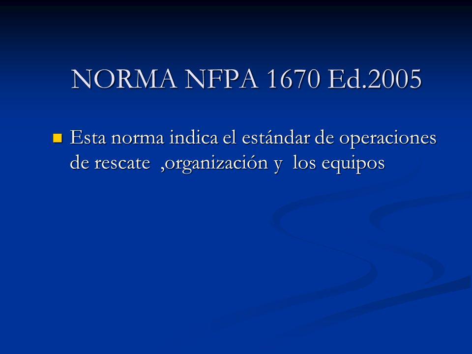 Esta norma indica el estándar de operaciones de rescate,organización y los equipos Esta norma indica el estándar de operaciones de rescate,organizació