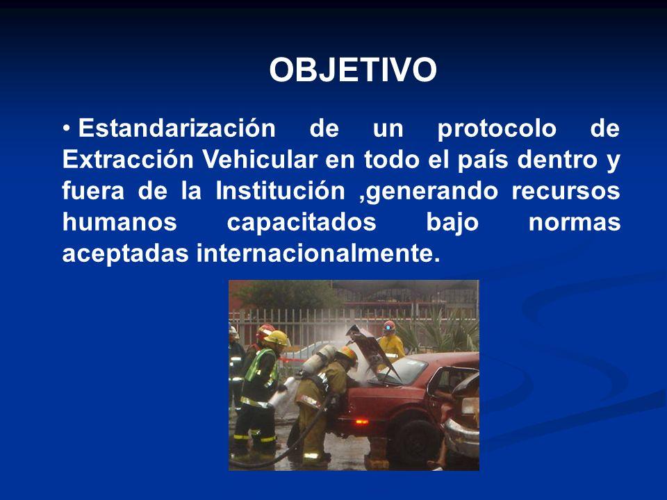 OBJETIVO Estandarización de un protocolo de Extracción Vehicular en todo el país dentro y fuera de la Institución,generando recursos humanos capacitad