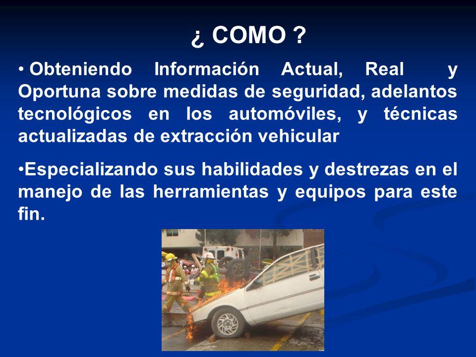¿ COMO ? Obteniendo Información Actual, Real y Oportuna sobre medidas de seguridad, adelantos tecnológicos en los automóviles, y técnicas actualizadas