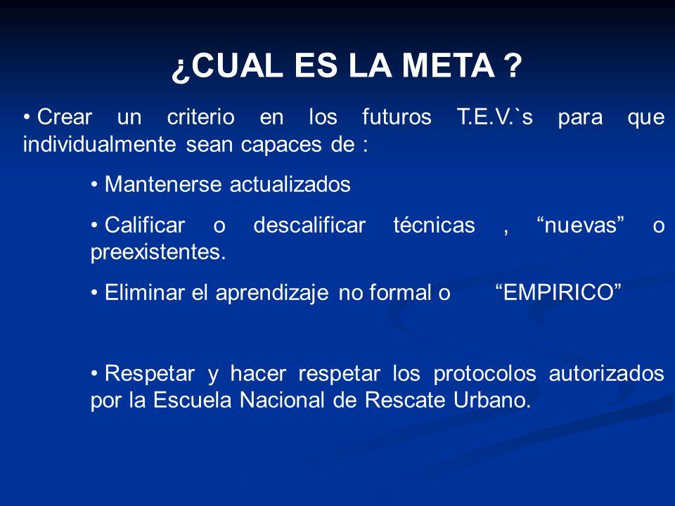 ¿CUAL ES LA META ? Crear un criterio en los futuros T.E.V.`s para que individualmente sean capaces de : Mantenerse actualizados Calificar o descalific
