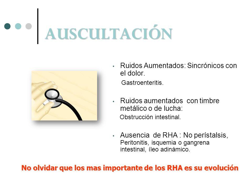 AUSCULTACIÓN Ruidos Aumentados: Sincrónicos con el dolor. Gastroenteritis. Ruidos aumentados con timbre metálico o de lucha: Obstrucción intestinal. A