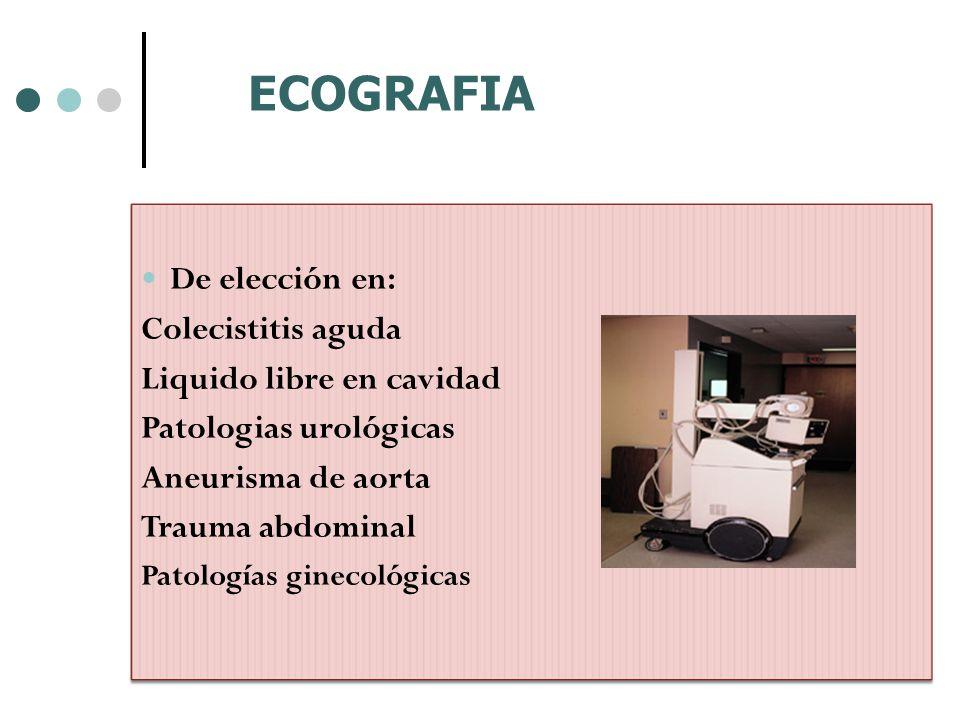 De elección en: Colecistitis aguda Liquido libre en cavidad Patologias urológicas Aneurisma de aorta Trauma abdominal Patologías ginecológicas ECOGRAF