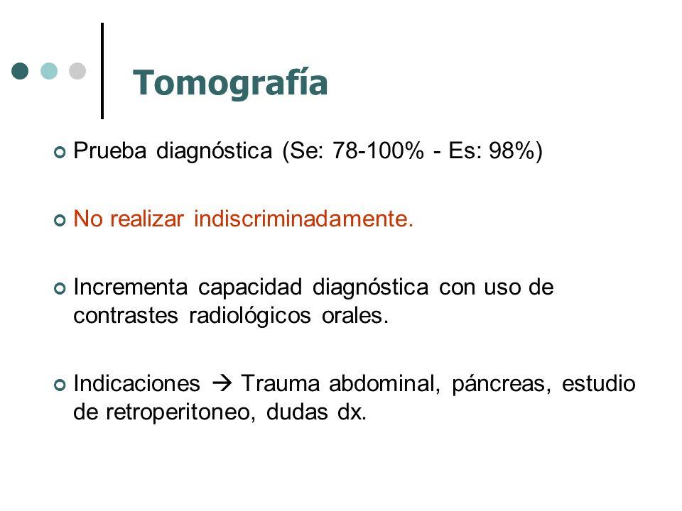 Prueba diagnóstica (Se: 78-100% - Es: 98%) No realizar indiscriminadamente. Incrementa capacidad diagnóstica con uso de contrastes radiológicos orales