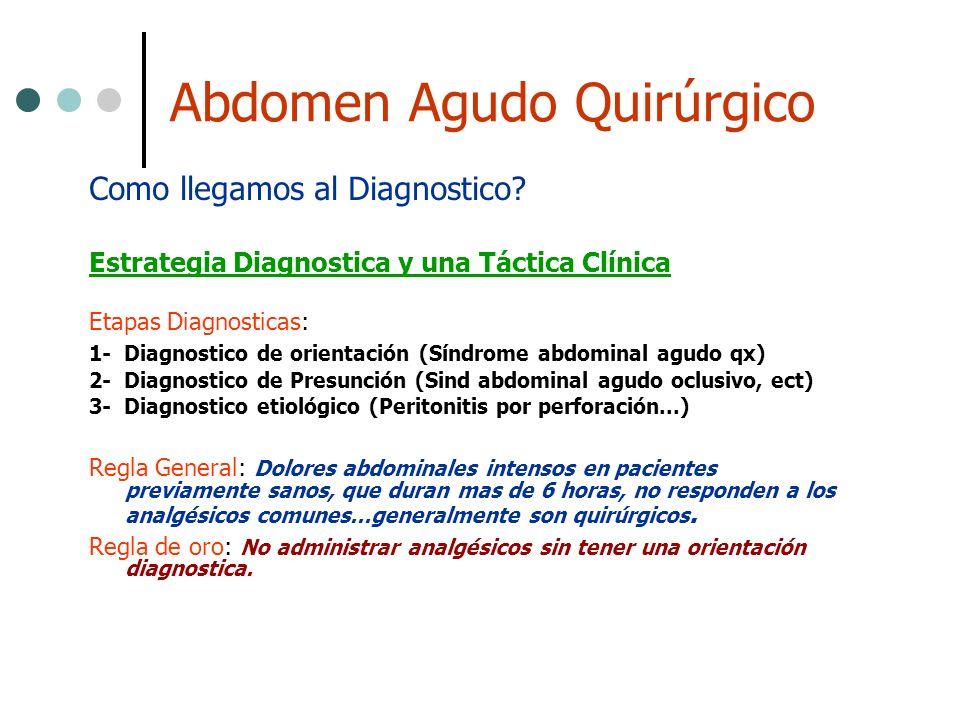 Abdomen Agudo Quirúrgico Como llegamos al Diagnostico? Estrategia Diagnostica y una Táctica Clínica Etapas Diagnosticas: 1- Diagnostico de orientación
