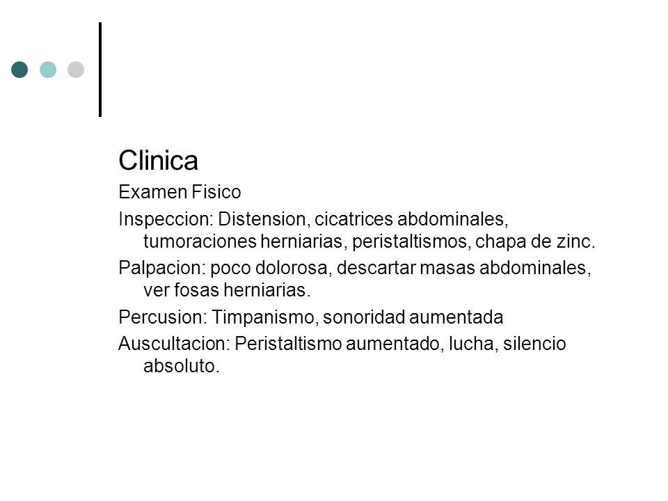 Clinica Examen Fisico Inspeccion: Distension, cicatrices abdominales, tumoraciones herniarias, peristaltismos, chapa de zinc. Palpacion: poco dolorosa