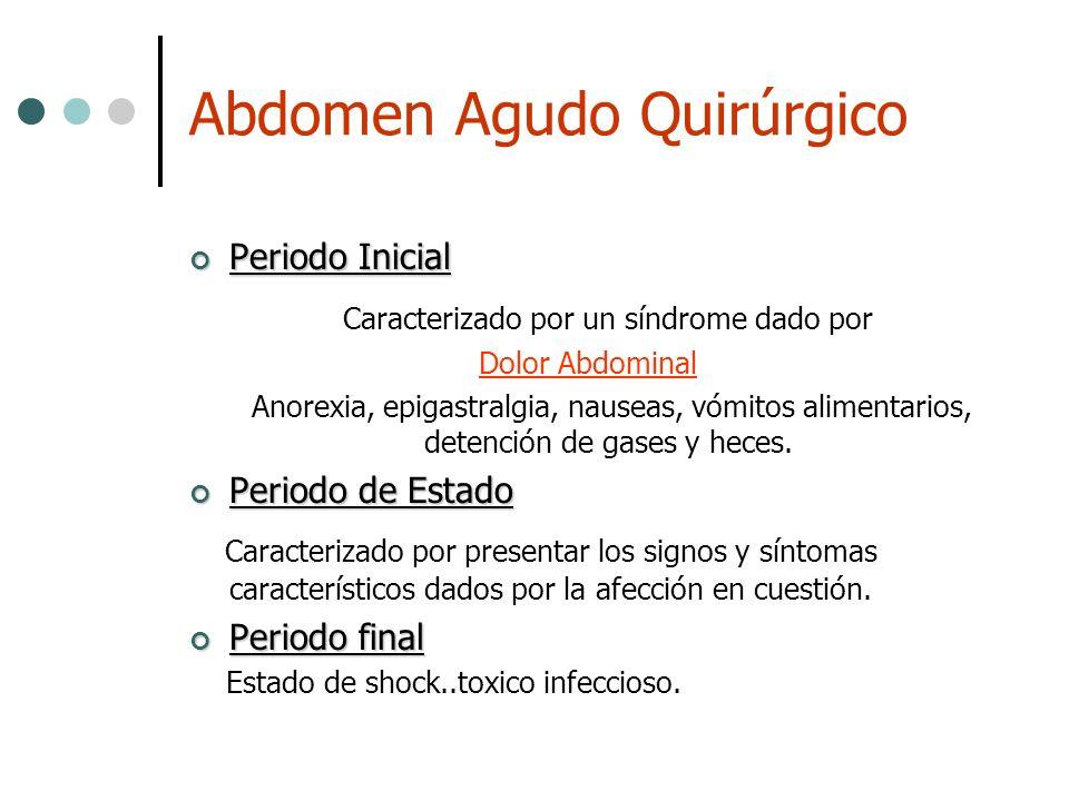 Abdomen Agudo Quirúrgico Periodo Inicial Periodo Inicial Caracterizado por un síndrome dado por Dolor Abdominal Anorexia, epigastralgia, nauseas, vómi