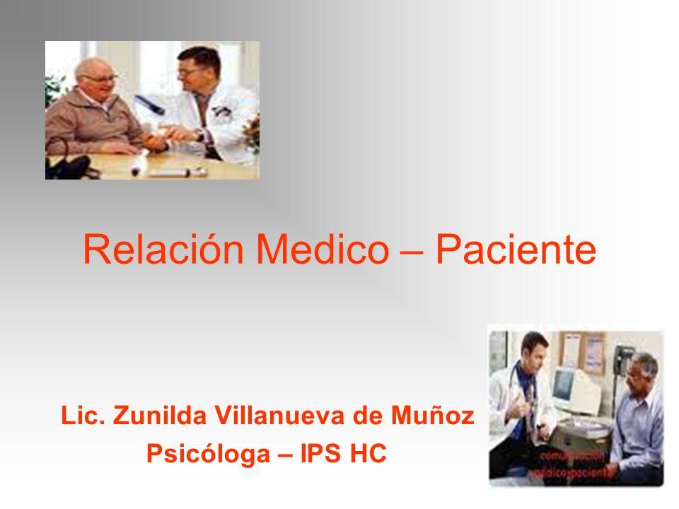 Relación Medico – Paciente Lic. Zunilda Villanueva de Muñoz Psicóloga – IPS HC