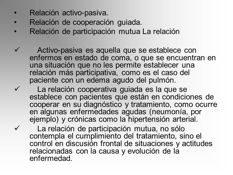 Relación activo-pasiva. Relación de cooperación guiada. Relación de participación mutua La relación Activo-pasiva es aquella que se establece con enfe