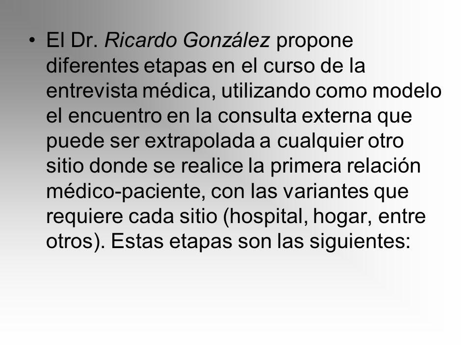 El Dr. Ricardo González propone diferentes etapas en el curso de la entrevista médica, utilizando como modelo el encuentro en la consulta externa que