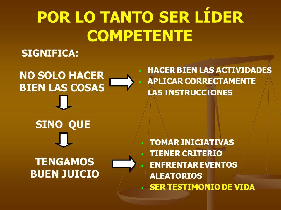 POR LO TANTO SER LÍDER COMPETENTE SIGNIFICA: NO SOLO HACER BIEN LAS COSAS HACER BIEN LAS ACTIVIDADES APLICAR CORRECTAMENTE LAS INSTRUCCIONES SINO QUE TENGAMOS BUEN JUICIO TOMAR INICIATIVAS TIENER CRITERIO ENFRENTAR EVENTOS ALEATORIOS SER TESTIMONIO DE VIDA