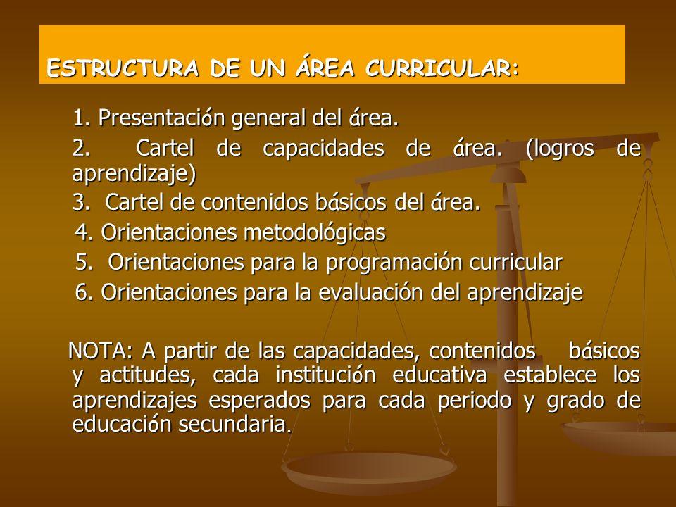 ESTRUCTURA DE UN ÁREA CURRICULAR: 1.Presentaci ó n general del á rea.