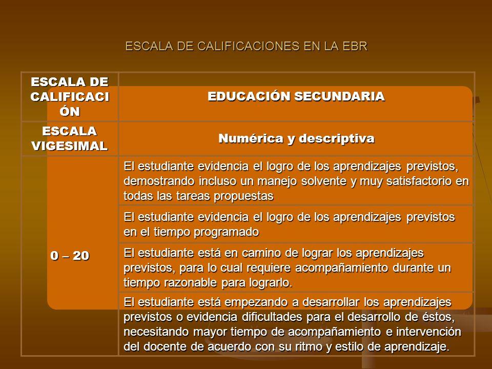 ESCALA DE CALIFICACIONES EN LA EBR ESCALA DE CALIFICACI ÓN EDUCACIÓN SECUNDARIA ESCALA VIGESIMAL Numérica y descriptiva 0 – 20 El estudiante evidencia el logro de los aprendizajes previstos, demostrando incluso un manejo solvente y muy satisfactorio en todas las tareas propuestas El estudiante evidencia el logro de los aprendizajes previstos en el tiempo programado El estudiante está en camino de lograr los aprendizajes previstos, para lo cual requiere acompañamiento durante un tiempo razonable para lograrlo.
