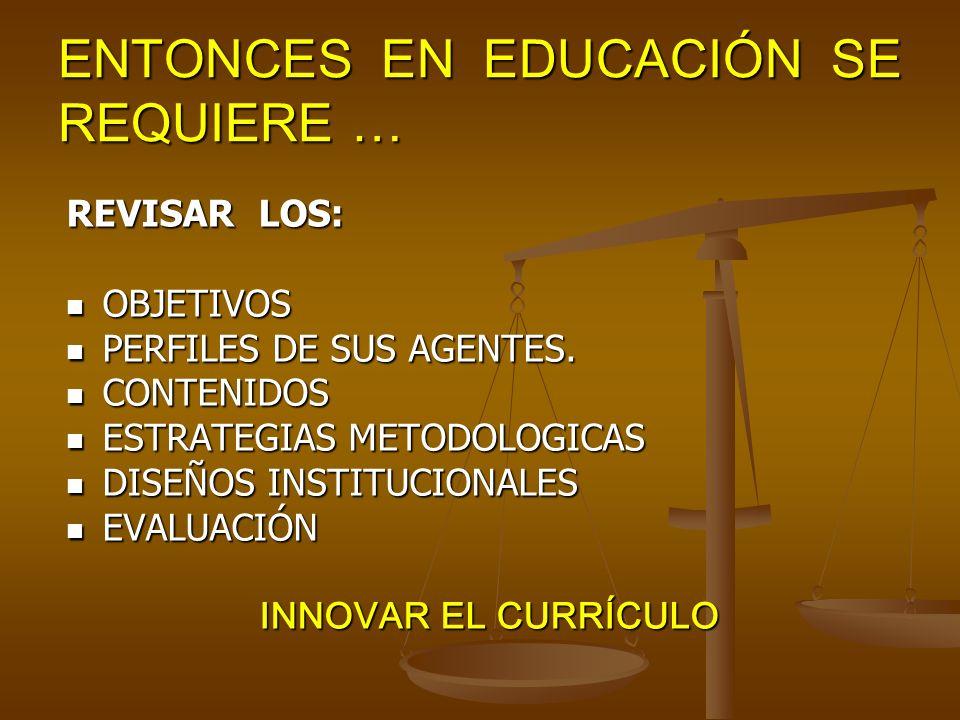 ENTONCES EN EDUCACIÓN SE REQUIERE … REVISAR LOS: OBJETIVOS OBJETIVOS PERFILES DE SUS AGENTES.