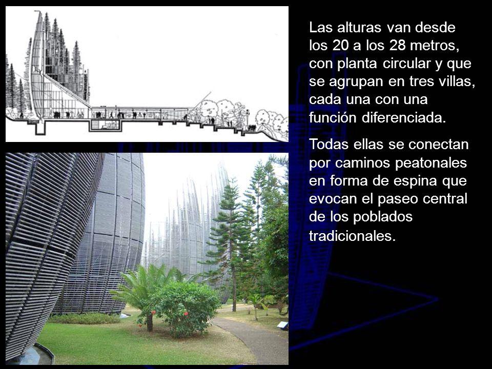 Las alturas van desde los 20 a los 28 metros, con planta circular y que se agrupan en tres villas, cada una con una función diferenciada. Todas ellas