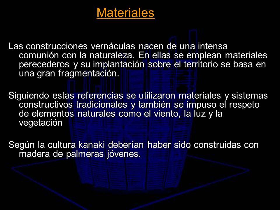 Las construcciones vernáculas nacen de una intensa comunión con la naturaleza. En ellas se emplean materiales perecederos y su implantación sobre el t