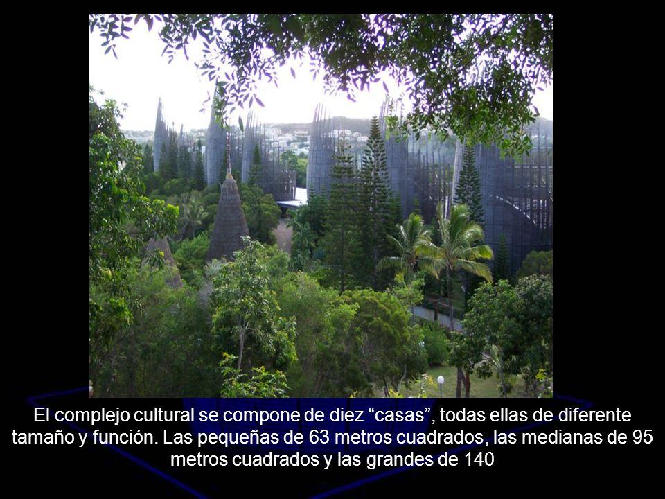 El complejo cultural se compone de diez casas, todas ellas de diferente tamaño y función. Las pequeñas de 63 metros cuadrados, las medianas de 95 metr