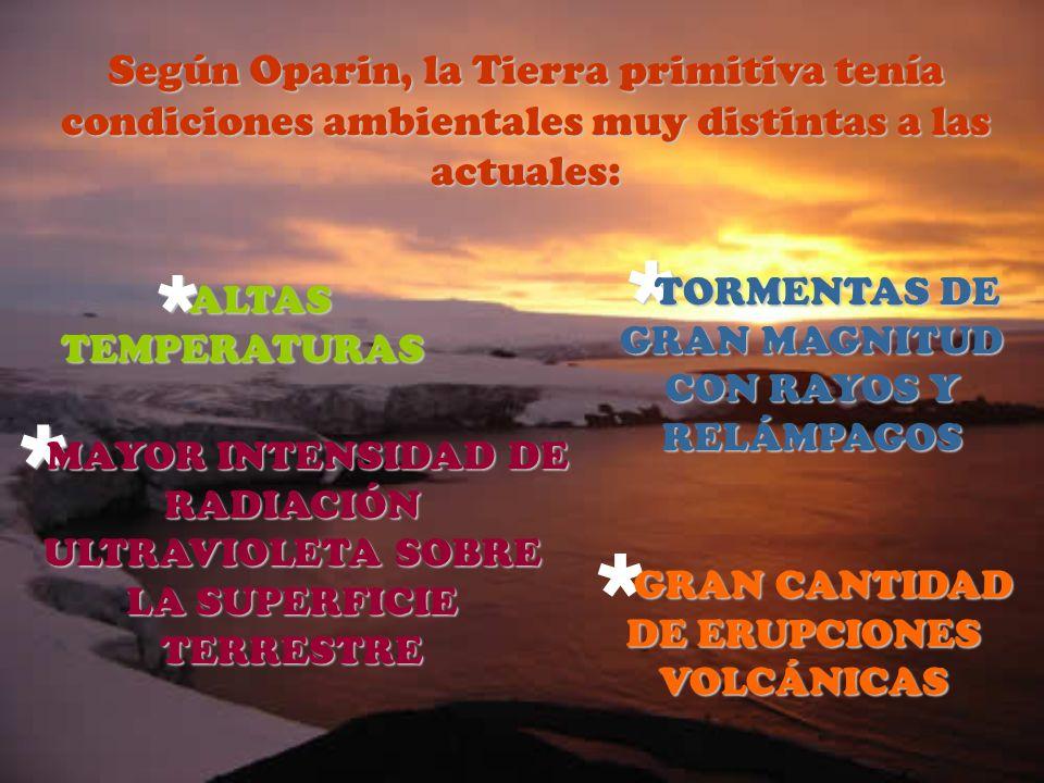 Según Oparin, la Tierra primitiva tenía condiciones ambientales muy distintas a las actuales: A ALTAS TEMPERATURAS TORMENTAS DE GRAN MAGNITUD CON RAYO
