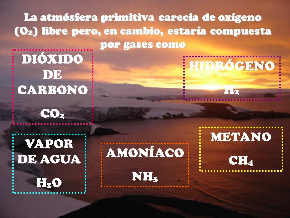 La atmósfera primitiva carecía de oxígeno (O2) libre pero, en cambio, estaría compuesta por gases como HIDRÓGENO H 2 DIÓXIDO DE CARBONO CO 2 METANO CH