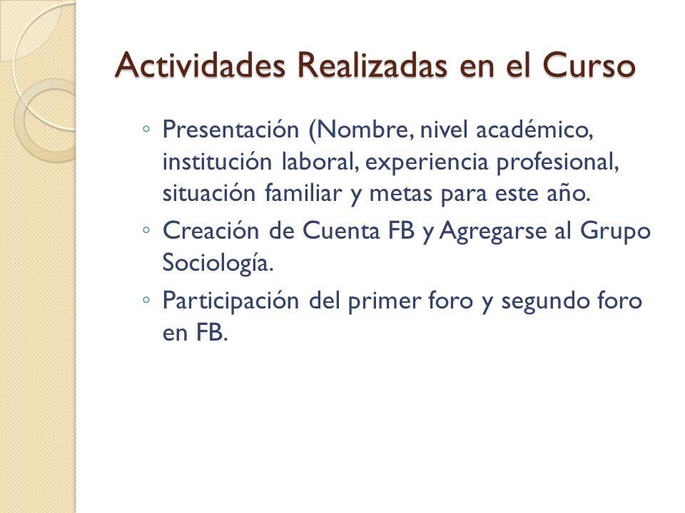 Actividades Realizadas en el Curso Agenda de la Clase Presencial 1 Lineamientos del Curso (Programa del Curso) Clases (como se llevaran a cabo) Foros