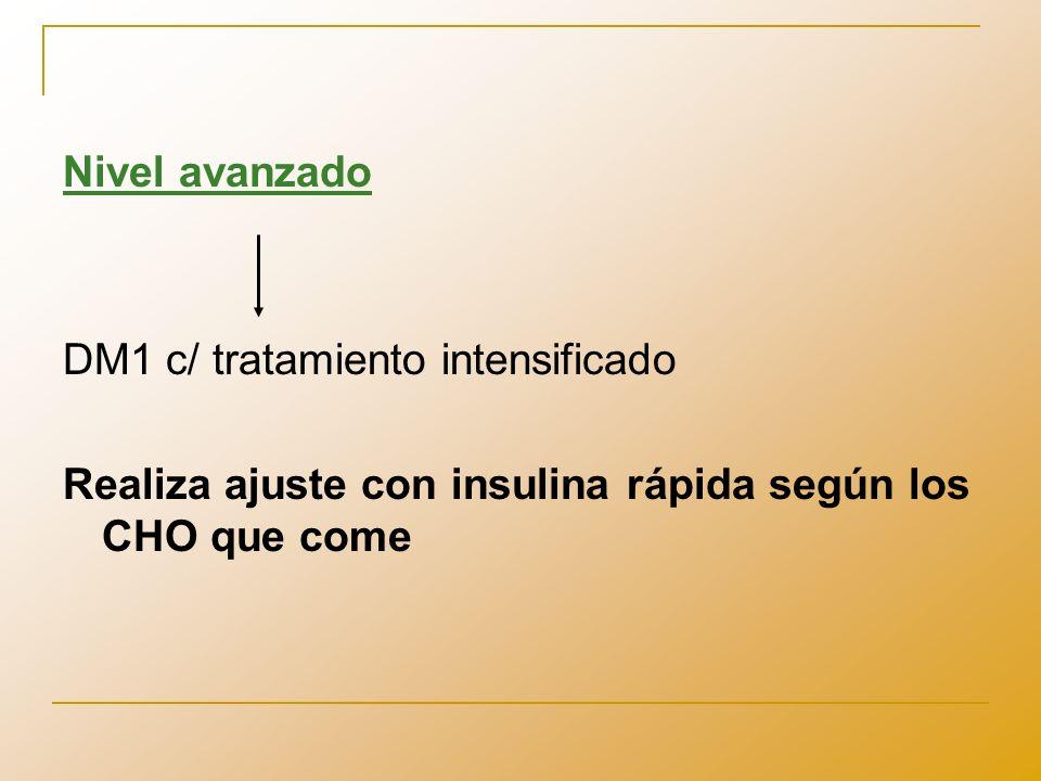 Ajuste por consumo Se calcula la relación Insulina/CHO Indica cuanta insulina se necesita para metabolizar los CHO consumidos en cada comida