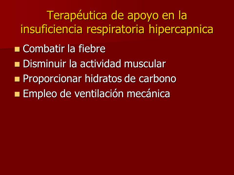 Terapéutica de apoyo en la insuficiencia respiratoria hipercapnica Combatir la fiebre Combatir la fiebre Disminuir la actividad muscular Disminuir la