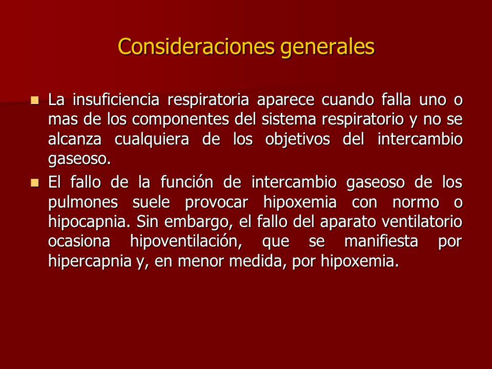 Consideraciones generales La insuficiencia respiratoria aparece cuando falla uno o mas de los componentes del sistema respiratorio y no se alcanza cua