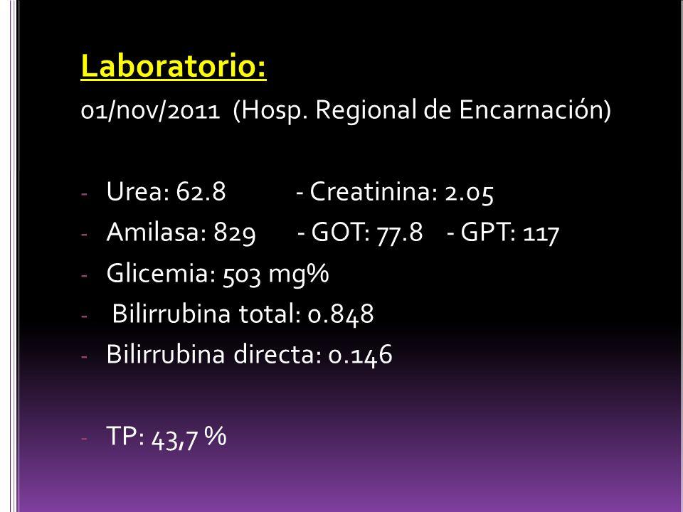 Laboratorio: 01/nov/2011 (Hosp.