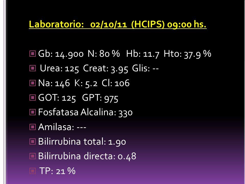 Laboratorio: 02/10/11 (HCIPS) 09:00 hs.