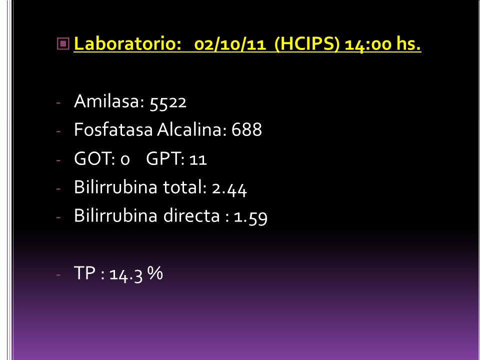 Laboratorio: 02/10/11 (HCIPS) 14:00 hs.