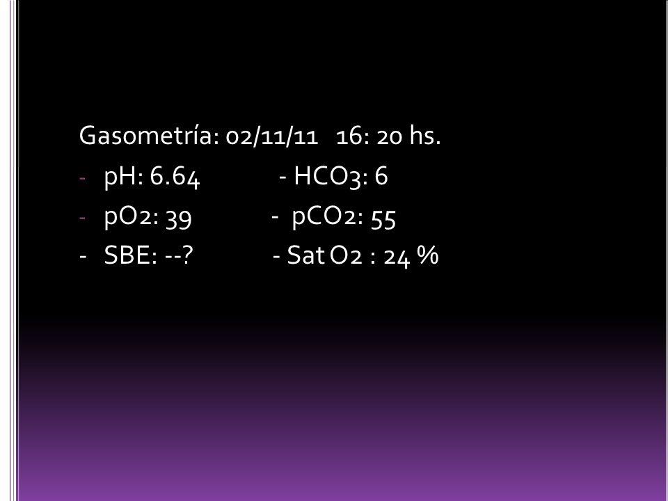 Gasometría: 02/11/11 16: 20 hs.- pH: 6.64 - HCO3: 6 - pO2: 39 - pCO2: 55 - SBE: --.