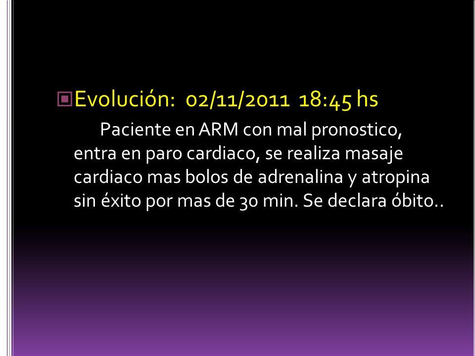 Evolución: 02/11/2011 18:45 hs Paciente en ARM con mal pronostico, entra en paro cardiaco, se realiza masaje cardiaco mas bolos de adrenalina y atropina sin éxito por mas de 30 min.