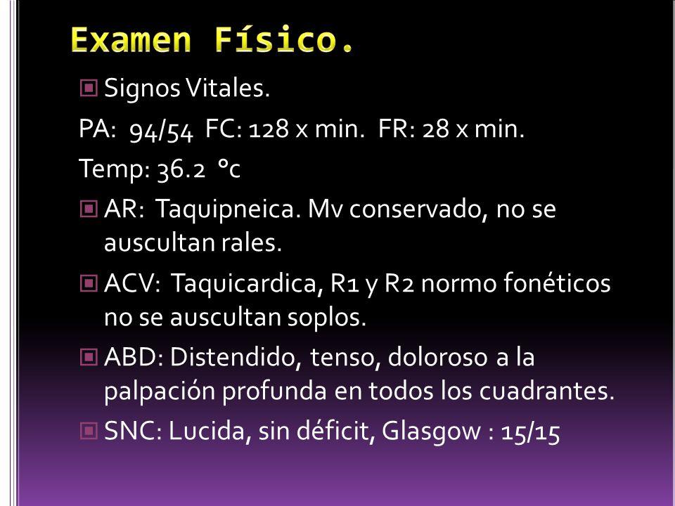 Signos Vitales.PA: 94/54 FC: 128 x min. FR: 28 x min.