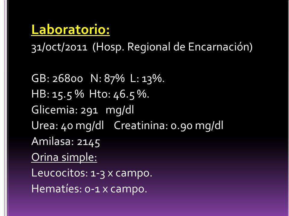Laboratorio: 31/oct/2011 (Hosp.Regional de Encarnación) GB: 26800 N: 87% L: 13%.