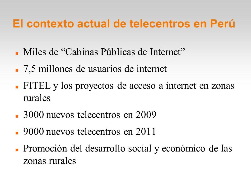 El contexto actual de telecentros en Perú Miles de Cabinas Públicas de Internet 7,5 millones de usuarios de internet FITEL y los proyectos de acceso a