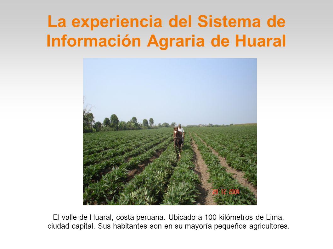 El valle de Huaral, costa peruana. Ubicado a 100 kilómetros de Lima, ciudad capital. Sus habitantes son en su mayoría pequeños agricultores. La experi