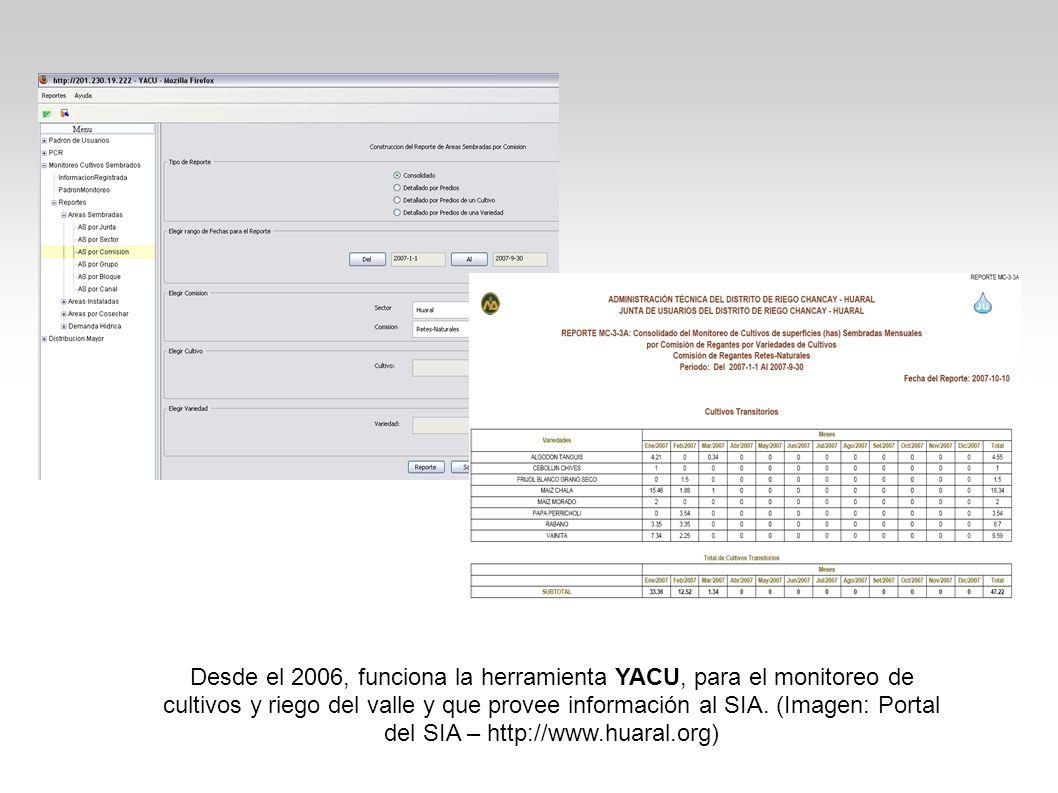 Desde el 2006, funciona la herramienta YACU, para el monitoreo de cultivos y riego del valle y que provee información al SIA. (Imagen: Portal del SIA