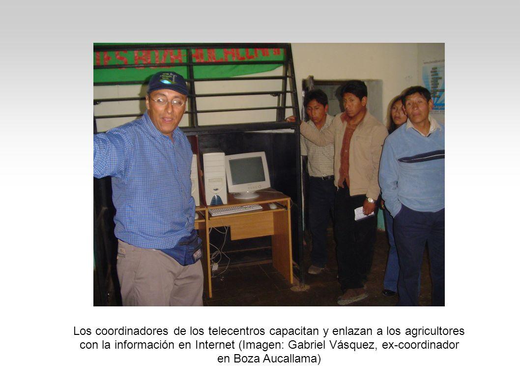 Los coordinadores de los telecentros capacitan y enlazan a los agricultores con la información en Internet (Imagen: Gabriel Vásquez, ex-coordinador en