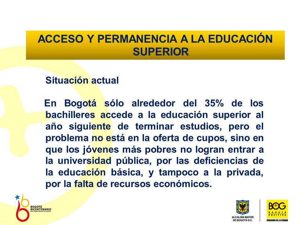 ACCESO Y PERMANENCIA A LA EDUCACIÓN SUPERIOR Situación actual En Bogotá sólo alrededor del 35% de los bachilleres accede a la educación superior al año siguiente de terminar estudios, pero el problema no está en la oferta de cupos, sino en que los jóvenes más pobres no logran entrar a la universidad pública, por las deficiencias de la educación básica, y tampoco a la privada, por la falta de recursos económicos.