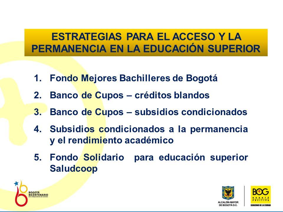 FONDO SOLIDARIO DE EDUCACIÓN SUPERIOR SED- SALUDCOOP OBJETIVO Otorgar créditos educativos blandos y condonables a los mejores bachilleres de los estratos 1, 2 y 3 egresados del sistema educativo oficial de Bogotá para permitir su acceso, permanencia y culminación en los programas académicos en pregrado en el nivel técnico profesional y tecnológico.