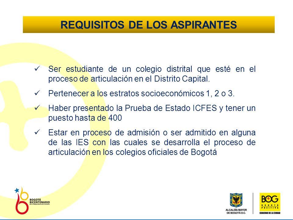 REQUISITOS DE LOS ASPIRANTES Ser estudiante de un colegio distrital que esté en el proceso de articulación en el Distrito Capital.