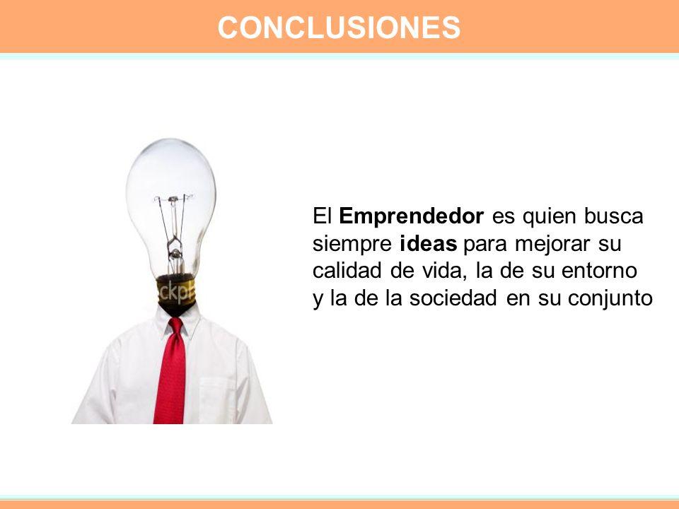 CONCLUSIONES El Emprendedor es quien busca siempre ideas para mejorar su calidad de vida, la de su entorno y la de la sociedad en su conjunto