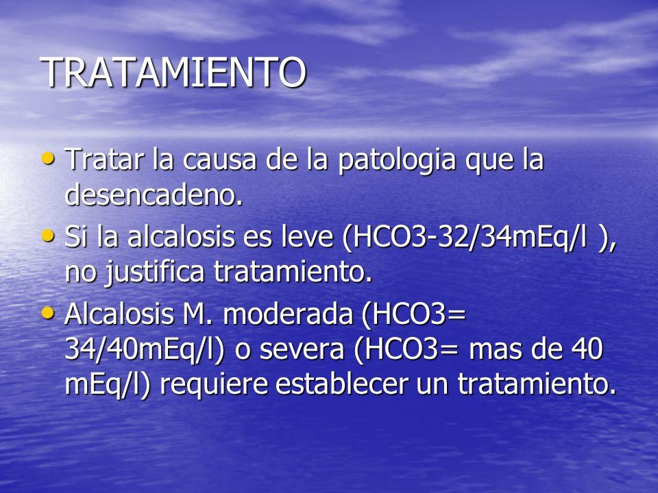 TRATAMIENTO Tratar la causa de la patologia que la desencadeno. Tratar la causa de la patologia que la desencadeno. Si la alcalosis es leve (HCO3-32/3