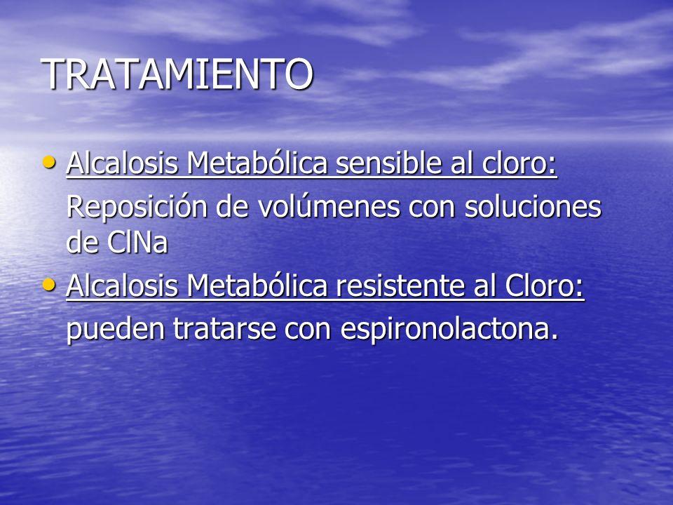 TRATAMIENTO Alcalosis Metabólica sensible al cloro: Alcalosis Metabólica sensible al cloro: Reposición de volúmenes con soluciones de ClNa Alcalosis M