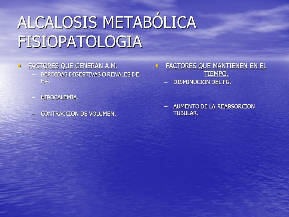 ALCALOSIS METABÓLICA FISIOPATOLOGIA FACTORES QUE GENERAN A.M. FACTORES QUE GENERAN A.M. –PERDIDAS DIGESTIVAS O RENALES DE H+. –HIPOCALEMIA. –CONTRACCI