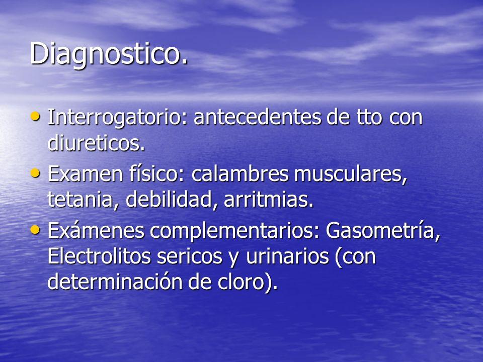 Diagnostico. Interrogatorio: antecedentes de tto con diureticos. Interrogatorio: antecedentes de tto con diureticos. Examen físico: calambres muscular