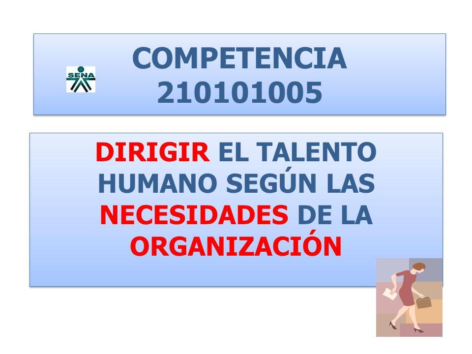 TALENTO HUMANO Competencias a desarrollar Coordinar el talento humano de acuerdo con los objetivos, estrategias e indicadores de gestión según los tiempos y recursos