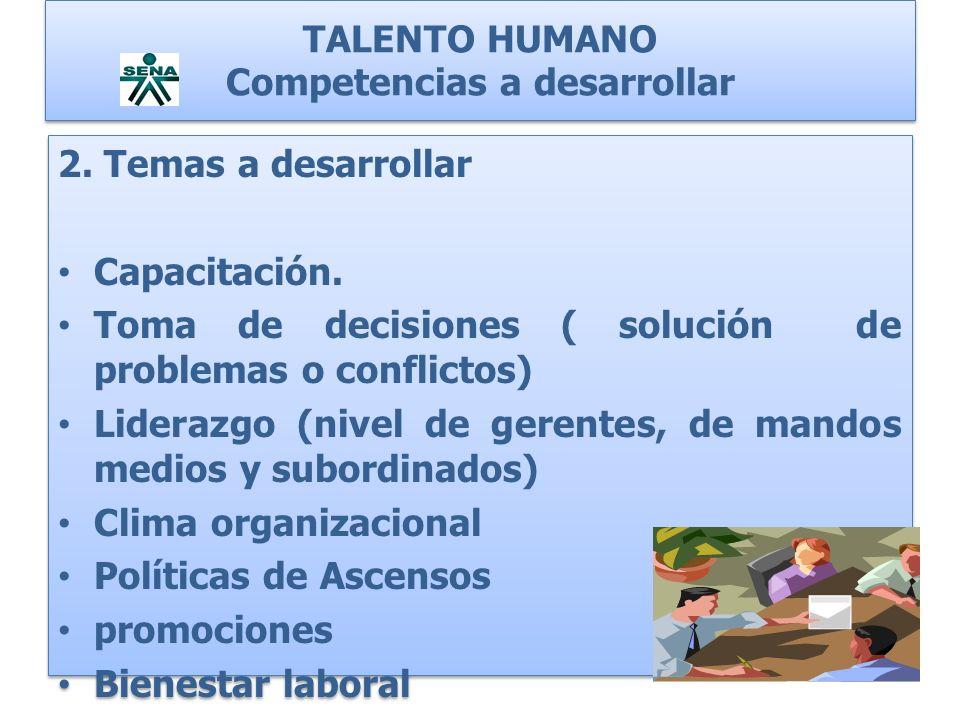 TALENTO HUMANO Competencias a desarrollar 2. Temas a desarrollar Capacitación. Toma de decisiones ( solución de problemas o conflictos) Liderazgo (niv
