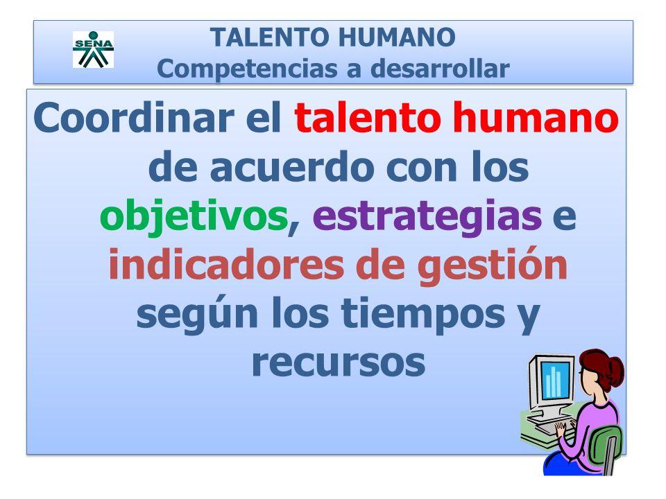 TALENTO HUMANO Competencias a desarrollar Coordinar el talento humano de acuerdo con los objetivos, estrategias e indicadores de gestión según los tie