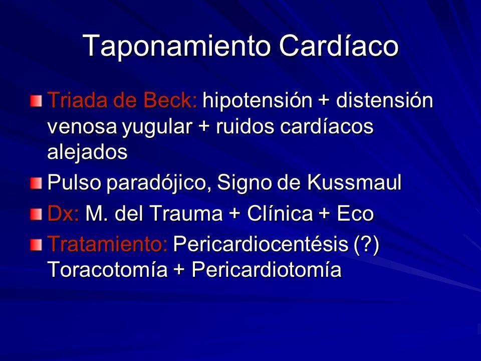 Taponamiento Cardíaco Triada de Beck: hipotensión + distensión venosa yugular + ruidos cardíacos alejados Pulso paradójico, Signo de Kussmaul Dx: M. d